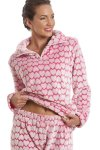 Supersoft Fleece Pink And White Heart Print Pyjama Set