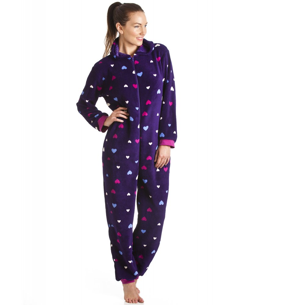 supersoft fleece purple love heart hooded all in one onesie. Black Bedroom Furniture Sets. Home Design Ideas