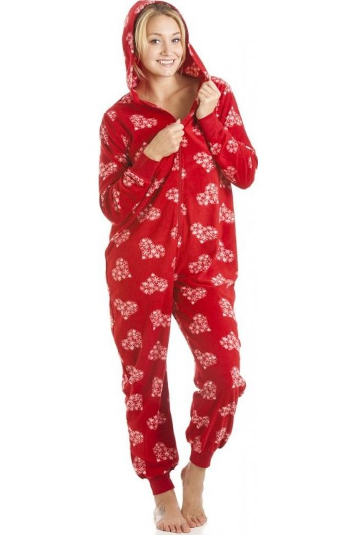 Supersoft Fleece Red And White Snowflake Love Heart All In One