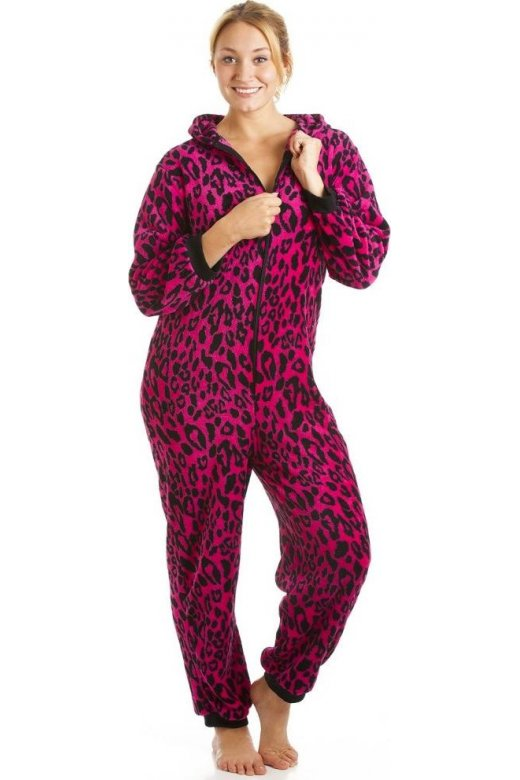 Camille Supersoft Fuchsia Pink And Black Animal Print All In One Onesie