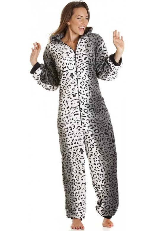 Camille Supersoft Luxury Fleece Grey Snow Leopard Onesie