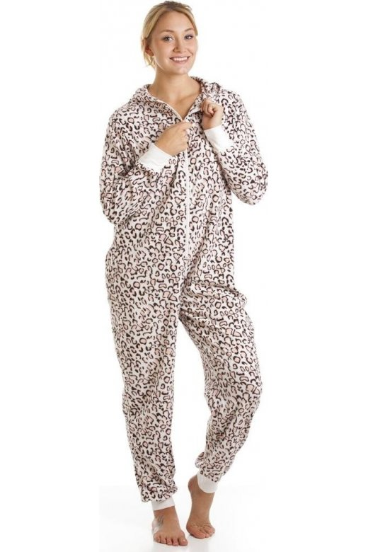 Camille Supersoft Pink Leopard Fleece Hooded All In One Onesie