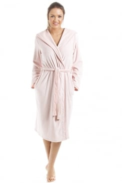 Supersoft Pink Velour Knee Length Bathrobe