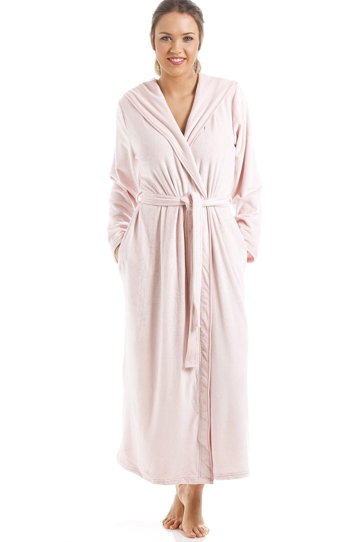 8514d9e79b Camille Supersoft Pink Velour Long Length Bathrobe