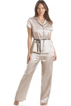 Taupe Polka Dot Tie Belt Satin Pyjama Set