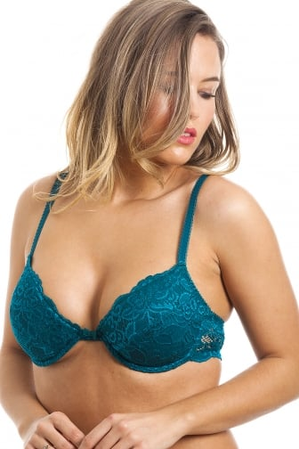 Teal Green Floral Lace Push Up Plunge Padded Underwired Bra