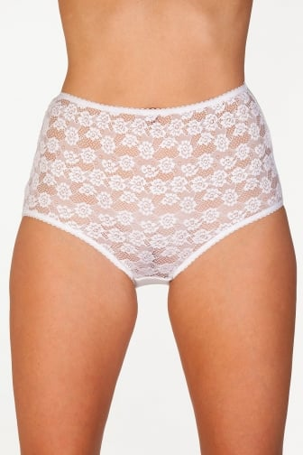Three Pack White Floral Lace Maxi Briefs