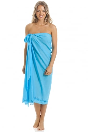 Turquoise Blue Long Length Sarong With Floral Embroidery