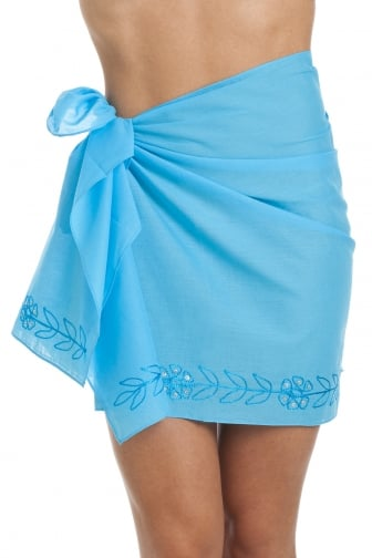 Turquoise Blue Short Length Sarong With Floral Embroidery