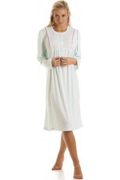 Turquoise Embroidered Long Sleeve Nightdress