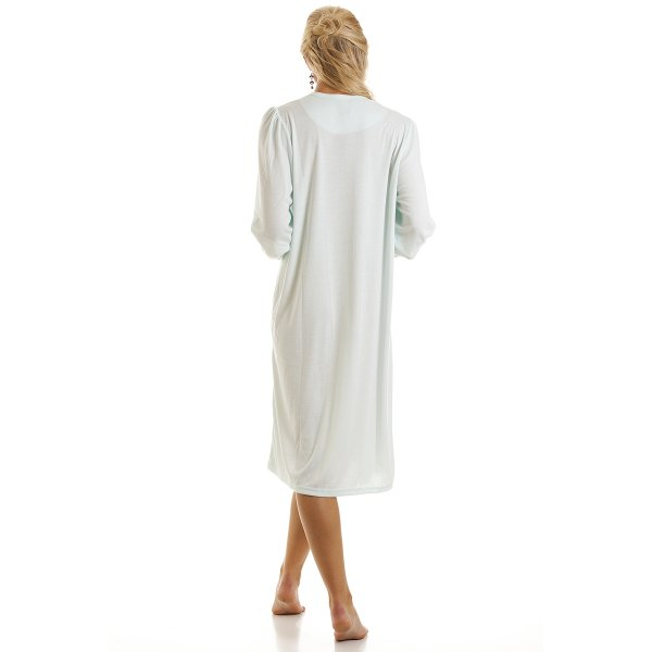 Ladies camille turquoise nightdress embroidered night