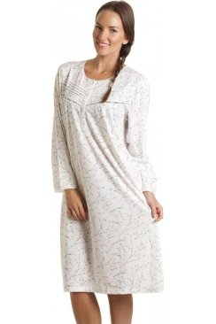 Turquoise Floral Print Long Sleeved Nightdress