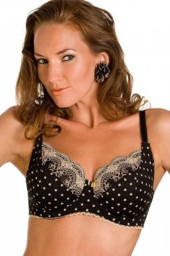 Underwired Padded Black And Gold Bra