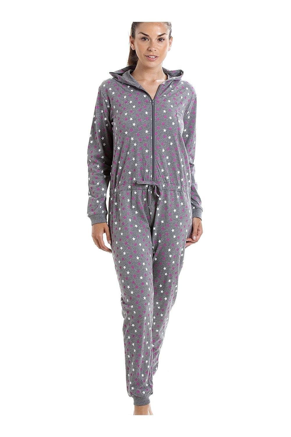 d234e0d5fa0 Camille Various Colour Cotton Star Print Hooded All In One Onesie