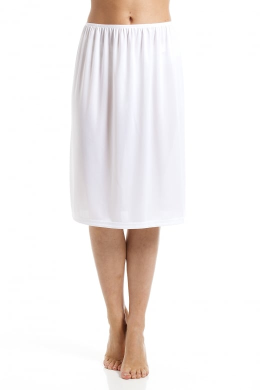 White 24'' Half Length Cling Resistant Under Skirt Slip