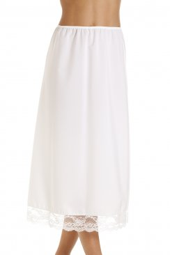 White 32'' Half Length Lace Trim Under Skirt Slip
