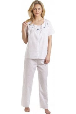 White And Blue Floral Embroidered And Polka Dot Pyjama Set