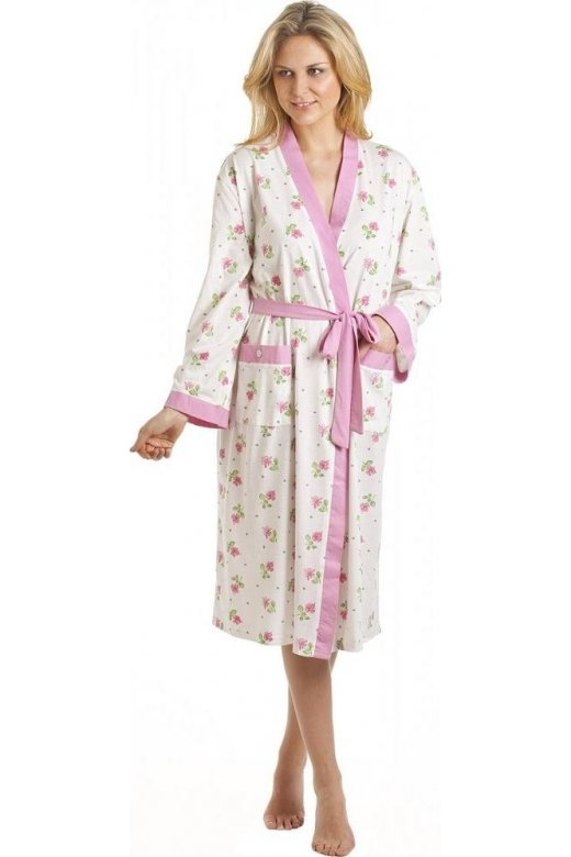 White And Pink Floral Print Jersey Bathrobe