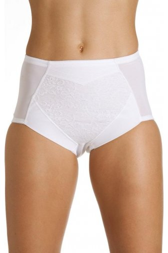 White Firm Control High Waist Shapewear Lace Briefs