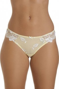 White Floral Lace Embroidered Yellow Thong