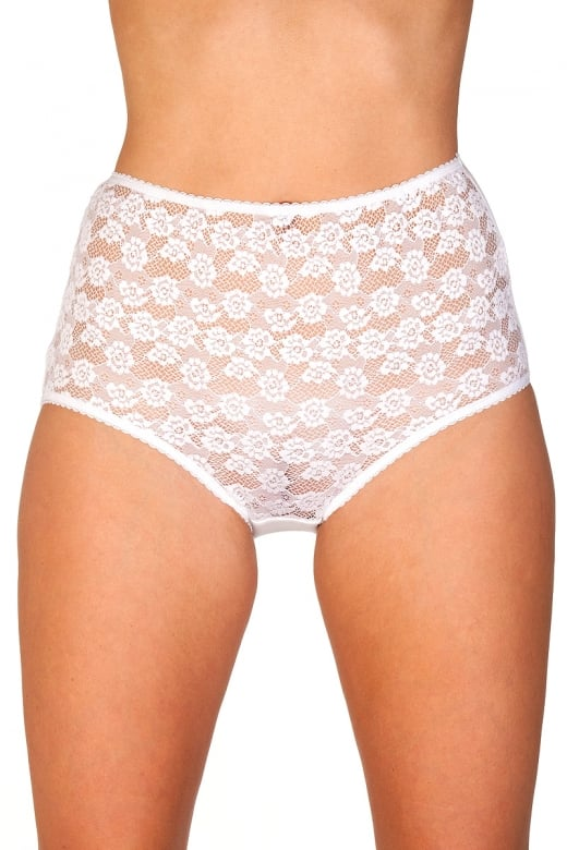 White Floral Lace Maxi Briefs