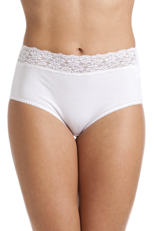 White Floral Lace Trim Maxi Briefs 231554adc