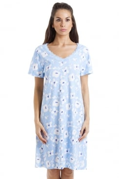 White Floral Print Light Blue Cotton Nightdress