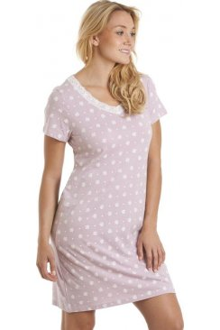 White Floral Print Lilac Cotton Nightdress