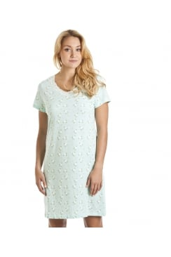 White Floral Print Mint Green Cotton Nightdress