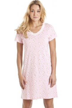 White Floral Print Pink Cotton Nightdress
