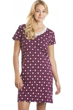 White Floral Print Purple Cotton Nightdress