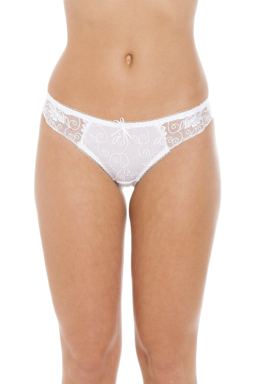 87ca69ec56c4 Womens Ladies Florence Sheer Mesh Embroidered Lace Thong In White ...
