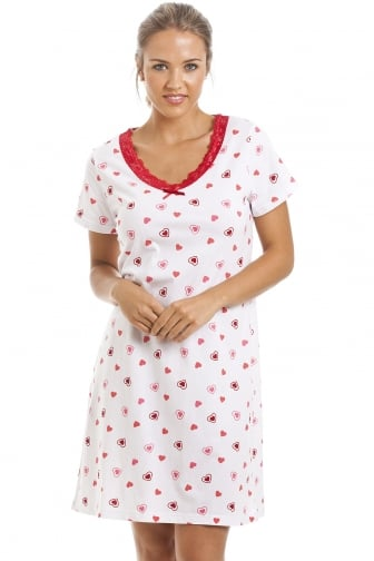 White Heart Print Cotton Nightdress