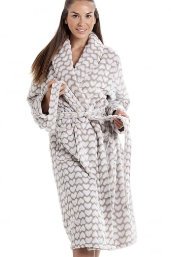 White Heart Print Supersoft Fleece Mink Bathrobe 417ffe5b3
