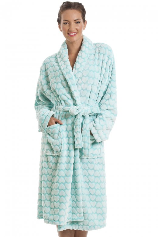 Camille White Heart Print Supersoft Fleece Mint Green Bathrobe