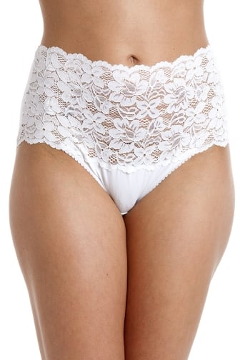 White High Waist Floral Lace Maxi Briefs