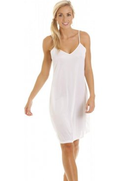 White Knee Length Full Slip Chemise