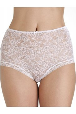 White Lace Panel Front Full Brief