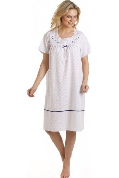 White Nightdress With Polka Dots And Floral Embroidery