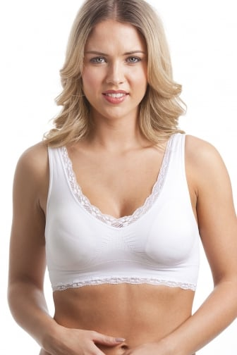 White Non-Wire Lace Trim Padded Comfort Bra
