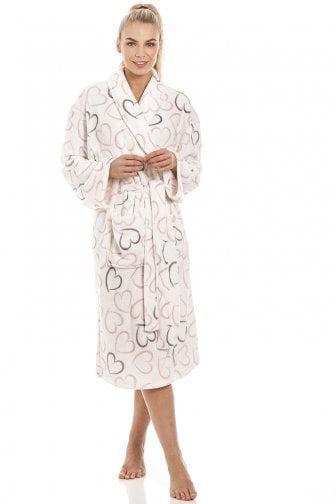 5321683715f2 White Supersoft Fleece Pink And Grey Heart Print Shawl Collar Bathrobe