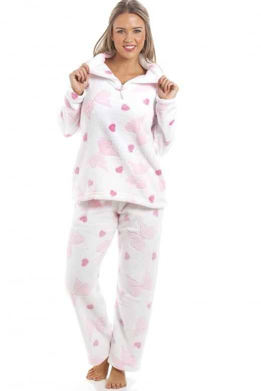 White Supersoft Fleece Pink Heart And Bow Print Full Length Pyjama Set