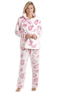 White Supersoft Fleece Pink Heart Print Pyjama Set