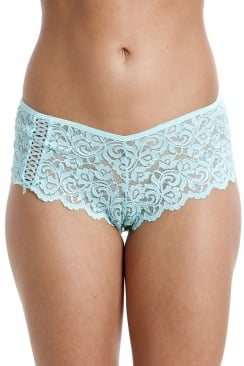 Womens Aqua Blue Floral Lace Boxer Shorts
