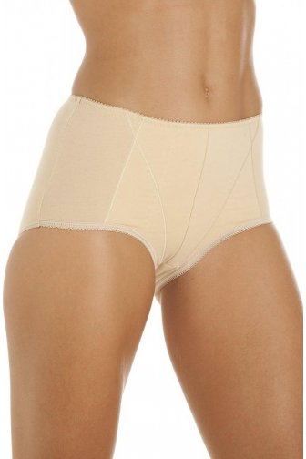 Womens Beige Cotton Control Shapewear Underwear Briefs