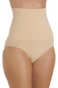 Womens Beige Seamfree Shapewear Comfort Hi Waisted Control Brief