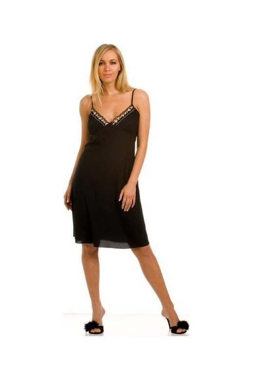 Womens Black Knee Length Full Slip