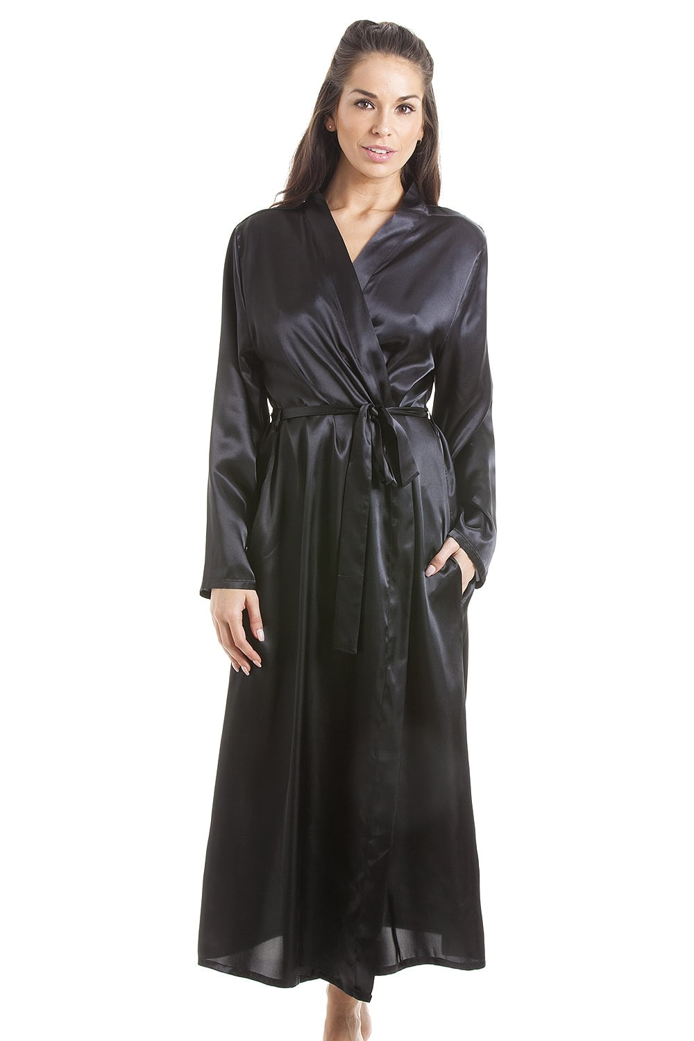 Womens Black Luxury Satin Dressing Gown