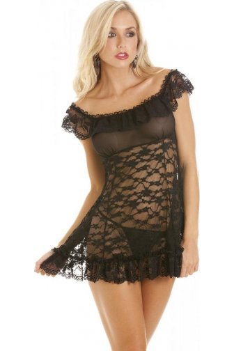 Womens Black Sexy Babydoll With G String Thong