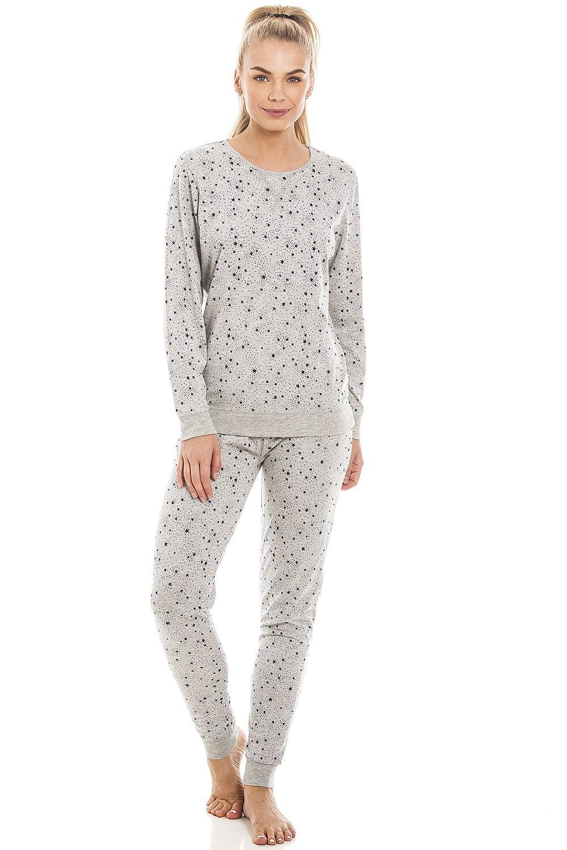 6f2772d6ca58 Camille Womens Black Star Print Lightweight Grey Pyjama Set